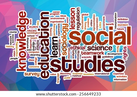 Social studies word cloud concept with abstract background - stock photo