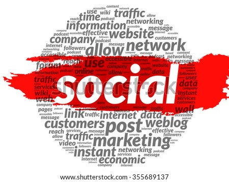 SOCIAL word cloud, business concept - stock photo