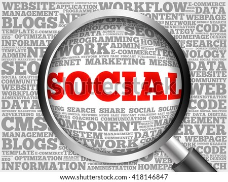 Social word cloud with magnifying glass, business concept - stock photo