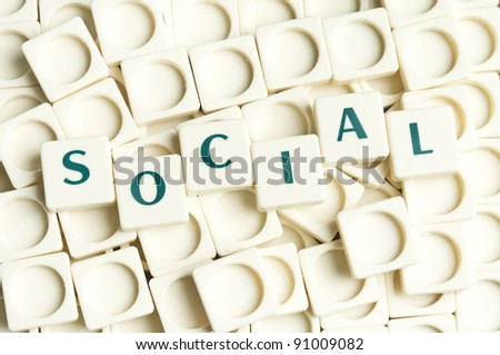 Social word made by leter pieces - stock photo