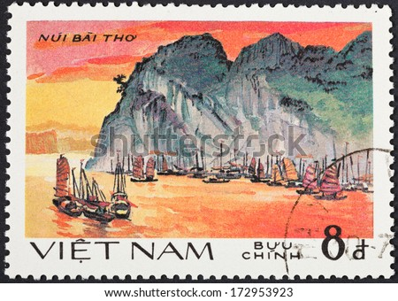 SOCIALIST REPUBLIC OF VIETNAM - CIRCA 1984: A postage stamp printed in the Vietnam shows natural scenery of UNESCO World Heritage mountain Nui Bai Tho at Ha Long bay, circa 1984 - stock photo