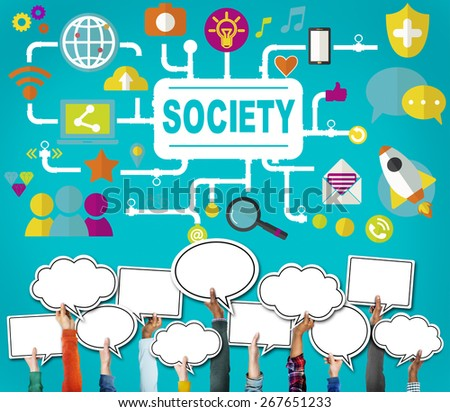 Society Community Global Togetherness Connecting Internet Concept - stock photo
