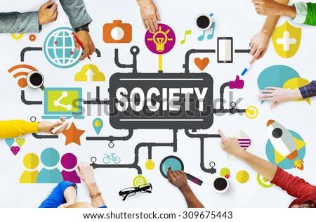 Society Social Media Social Networking Connection Concept - stock photo