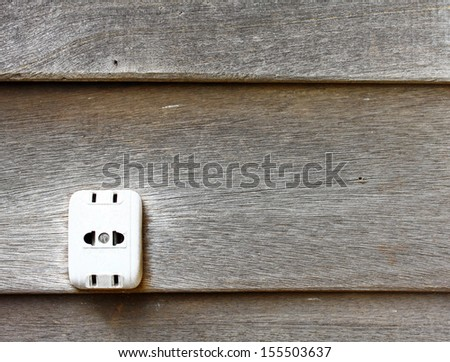 socket on wood wall  - stock photo