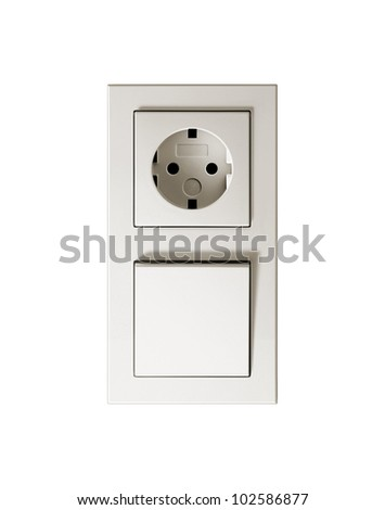 Socket & switch. On a white background. - stock photo