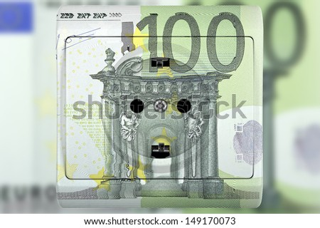socket with one hundred euro banknote - stock photo