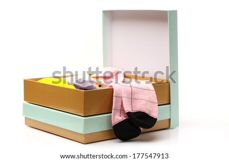 Socks in box. - stock photo