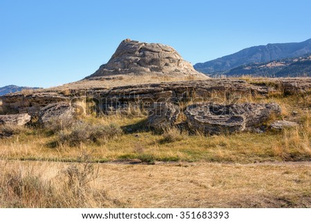 Soda Butte in the Lamar Valley of Yellowstone National Park, Wyoming.  - stock photo