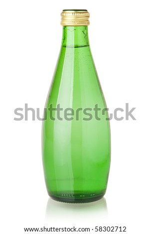 Soda water in glass bottle. Isolated on white - stock photo