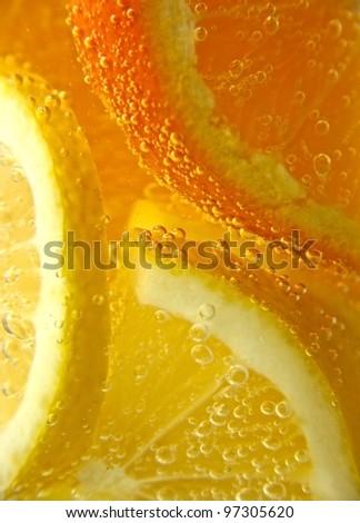 soda with lemon and orange - stock photo