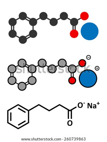 Sodium phenylbutyrate urea cycle disorders drug molecule. Also acts as histone acetylase (HDAc) inhibitor and chemical chaperone. Stylized 2D renderings and conventional skeletal formula.  - stock photo