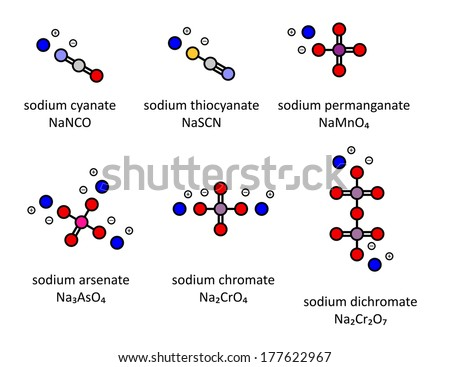 Sodium salts (set 3): Sodium cyanate, thiocyanate, permanganate, arsenate, chromate, dichromate. Atoms shown as color-coded circles. - stock photo