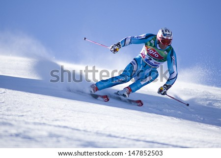 SOELDEN AUSTRIA OCT 26, Aksel Lund SVINDAL NOR  competing in the mens giant slalom race at the Rettenbach Glacier Soelden Austria, the opening race of the 2008/09 Audi FIS Alpine Ski World Cup - stock photo