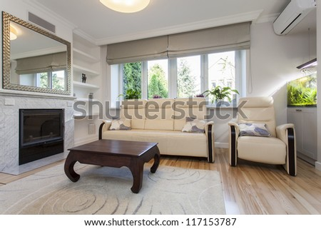 Sofa and armchair in bright living room - stock photo