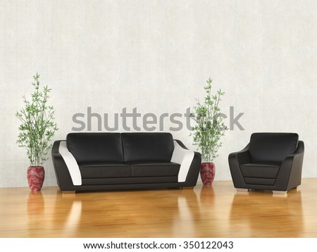 Sofa and armchair in warm environment - stock photo
