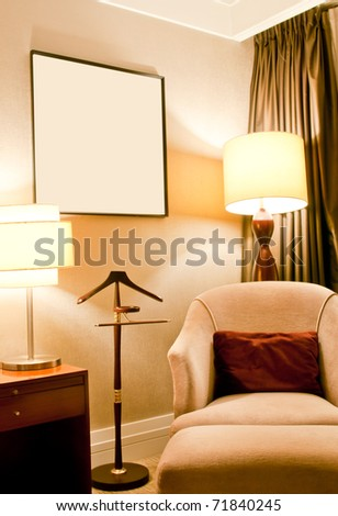 sofa and lamps - stock photo