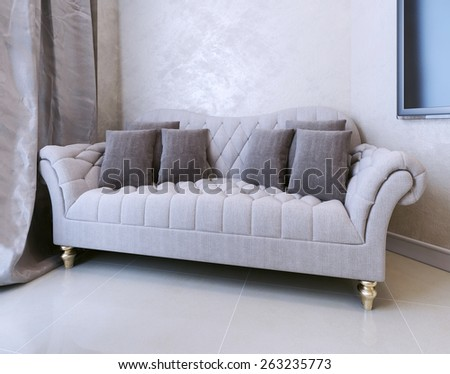 Sofa Art Deco. 3D render - stock photo