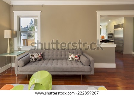 Sofa, Couch in modern living room adjacent to kitchen and outdoors.  - stock photo