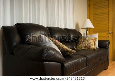 Sofa featured room with door - stock photo