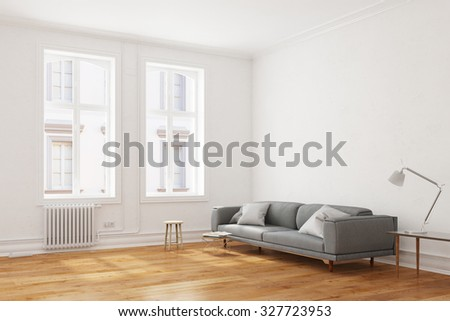 Sofa in a living room in an old European building (3D Rendering) - stock photo