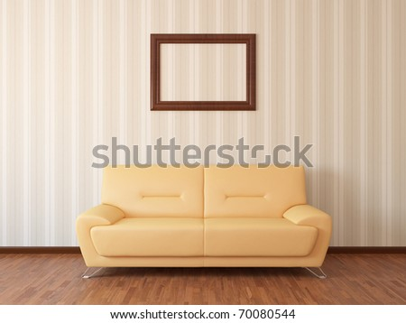 Sofa in rest room whit frame - stock photo