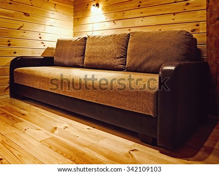 Sofa in the Corner of the Room - stock photo