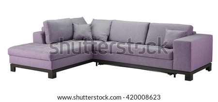 Sofa isolated on white background. Include clipping path. - stock photo