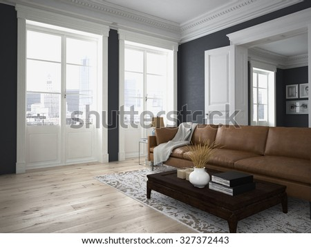 sofa of tissue in a modern living room. 3d rendering - stock photo