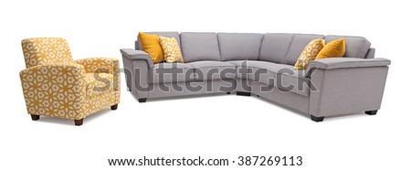 Sofa with Armchair - stock photo