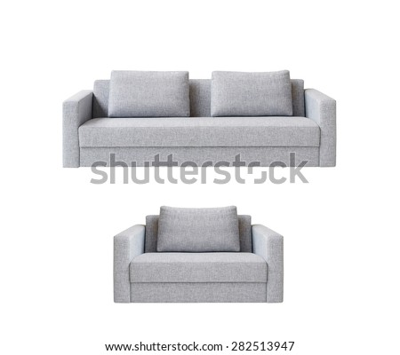 sofa with armchair from white fabric upholstery - stock photo