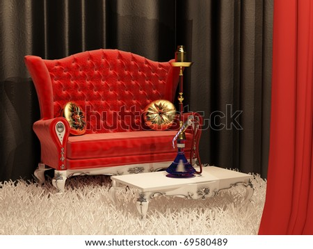 Sofa with pillow and hookah in east style interior - stock photo