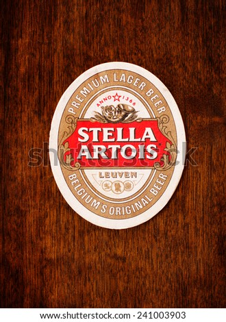 Sofia, Bulgaria -December 23,2014: Beermats from Stella Artois.It has been brewed in Leuven, Belgium, since 1926.Stella Artois is one of the prominent brands of Anheuser-Busch InBev - stock photo