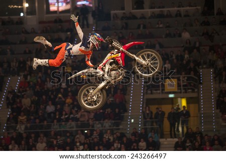 Sofia, Bulgaria - January 10 : Competitor   performs trick during the 2015 FIM Mx Freestyle World Championship on January 10, 2015 in Sofia, Bulgaria. - stock photo