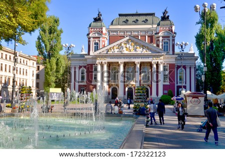 SOFIA, BULGARIA SEPT 27: . The Ivan Vazov National Theatre is Bulgaria's national theatre,  one of the important landmarks of Sofia, the capital of Bulgaria  on september 27, 2013  - stock photo