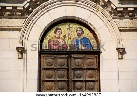 SOFIA, BULGARIA SEPTEMBER 21: Saint Methodius and Saint Cyril fresco  on the door of the St. Alexander Nevsky Cathedral on september 21 2013 in Sofia, Bulgaria - stock photo