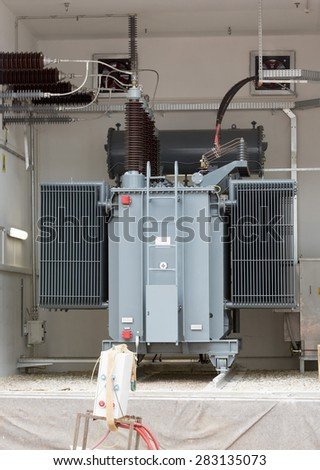 Sofia's second waste plant heavy duty high voltage back up diesel power generator. - stock photo