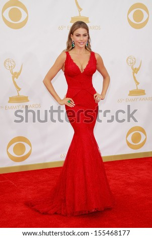 Sofia Vergara at the 65th Primetime Emmy Awards at the Nokia Theatre, LA Live. September 22, 2013  Los Angeles, CA - stock photo