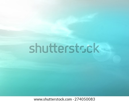 Soft and colorful sunset sky. Ozone Layer Day, World Environment, Ecology, Ocean, Sea concept. - stock photo