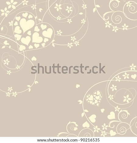 Soft and pretty love background with swirls and flowers - stock photo