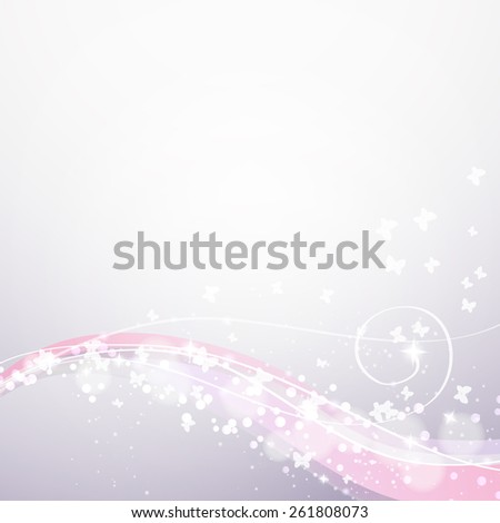 soft background with waves,lights and butterflies  - stock photo
