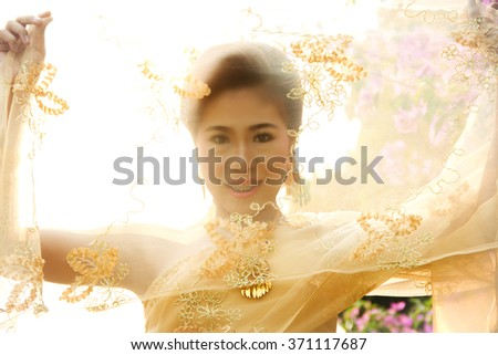Soft Beautiful Thai women wearing typical Thai dress, identity culture of Thailand - stock photo