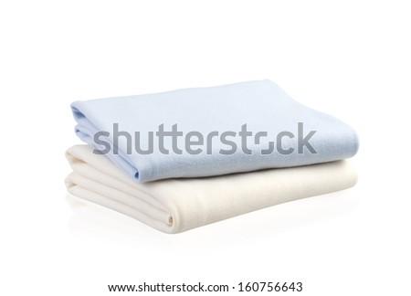 soft blankets isolated on white background - stock photo