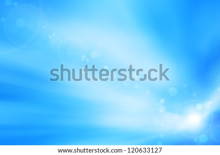 soft blue background and lens flare - stock photo