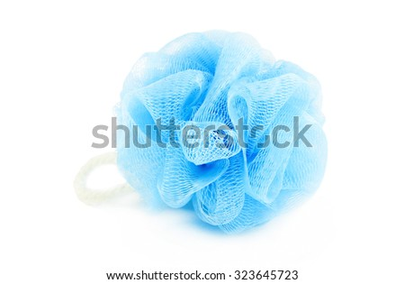 Soft blue synthetic sponge for showering isolated on white - stock photo
