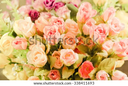 Soft blurred of vintage roses background. - stock photo