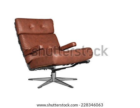 Soft brown leather stylish and retro chair on white - stock photo