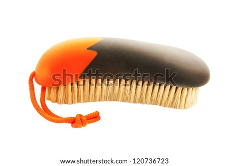 soft brush orange and grey with natural bristle for grooming horses - stock photo