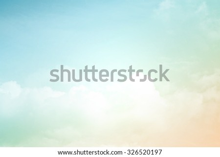 soft cloud and sky with pastel gradient color  - stock photo