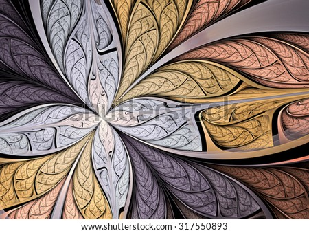 Soft color  fantasy artistic flower. Beautiful abstract background for wallpaper, interior, album, flyer cover, banner, poster, booklet. Fractal artwork for creative vintage graphic design - stock photo