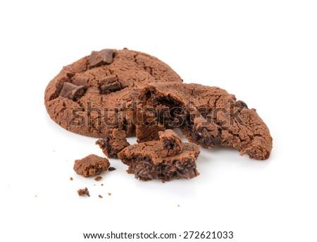 soft dark chocolate brownie cookies on white - stock photo